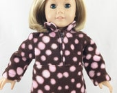 """REDUCED Doll Top For 18"""" Dolls Handmade Brown with Pink Polka Dots Zip Pullover  Polar Fleece #1"""