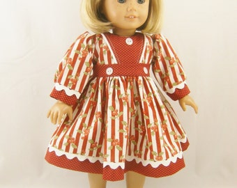 18 Inch Girl Doll Long Sleeved Christmas Stripes Holly and Dots Dress Matching Hair Bow
