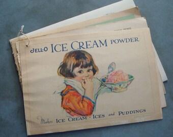 1925 Jello Ice Cream Powder Vintage Advertising Recipe Booklet