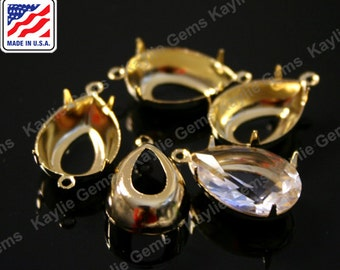 18x13 Prong Setting Pure 24K Gold Plated Tear Drop Open Back 1 Ring / 2 Ring Made In the USA