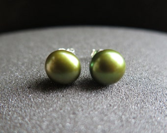 green pearl stud earrings. olive freshwater pearls. sterling silver posts. made in Canada