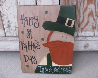 Primitive Personalized Country St Patricks Leprechaun Shamrocks Hand Painted Wooden Sign GCC5668