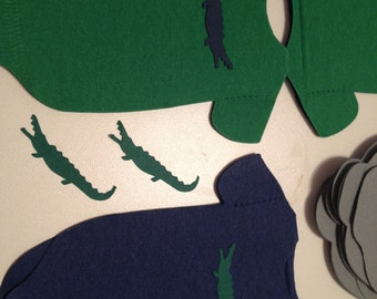 Alligators! Any quantity and any color Baby shower shirt shaped or bib shaped napkins.   Each with little alligator!