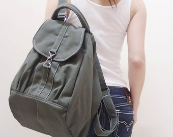 Halloween SALE - 20% OFF Essential in Army Green / Backpack / Rucksack / Diaper Bag / Tote / Women / Shoulder Bag / For Her