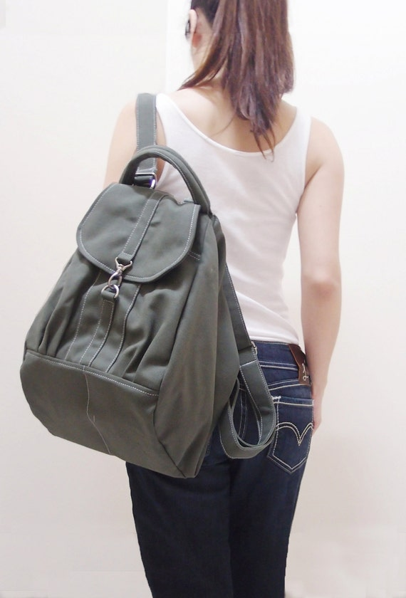 New Year SALE - 20% OFF Essential in Army Green / Backpack / Satchel / Rucksack / Diaper Bag / Tote / Women / Shoulder Bag / For Her