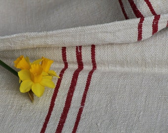 Nr. 480:  Grain Sack antique CRANBERRY RED pillow benchcushion 42.52 long wedding decoration