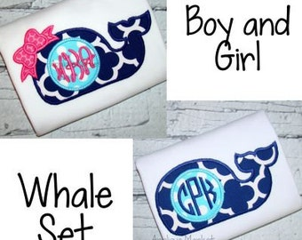 Machine Embroidery Design Applique Whale Boy & Girl Set INSTANT DOWNLOAD