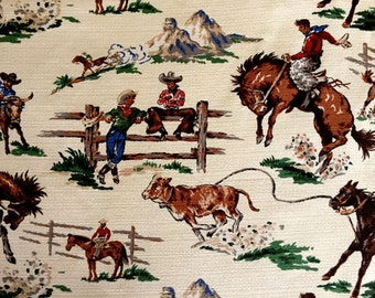 Cowboys and Bucking Broncos 50s Barkcloth Pair (2) Tab Top Draperies// Mid Century Novelty Fabric// New Old Stock Never Used