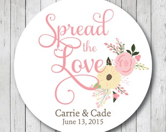 Spread the Love Rustic Floral Wedding Stickers or Tags
