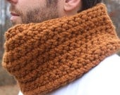Unisex Crochet Wool Circle Scarf/Cowl in Butterscotch - READY TO SHIP