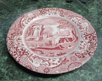 Red Transferware Spode Salad Plate Collectible Plate