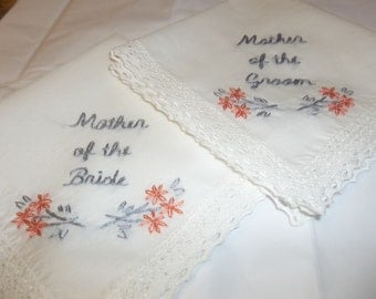 mother of bride, mother of groom wedding handkerchief set of 2, hand embroidered, wedding colors welcome, grey and coral