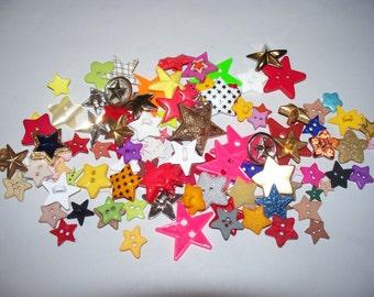 Star Buttons, Craft Buttons, Bulk Buttons, Colorful Buttons, Sewing Buttons, 100 Buttons, Lot 2662   (Free US Shipping)