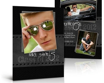 Senior Boy Graduation Invitation - BLACK LEATHER - 5x7 Flat & Folded  Press Printed Photoshop Templates for Photographers and Scrapbookers.