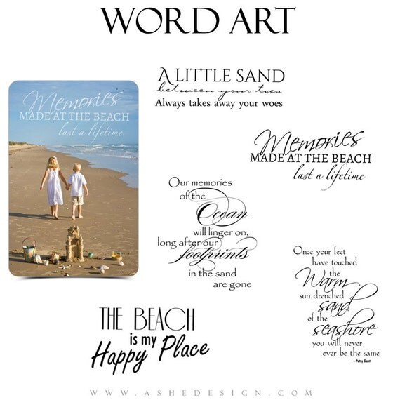 Beach Word Art Quotes Photo Overlays for Scrapbooking BY THE  Beach Quotes And Sayings For Scrapbooking
