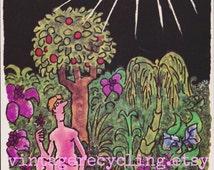 1970s PLAYBOY Comic Cartoon Greeting Card -by Alden Erikson funny, naughty sexy adult humor Garden of Eden Birthday bday