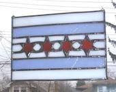Stained Glass Chicago Flag Suncatcher