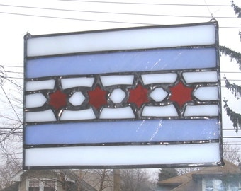Stained Glass Chicago Flag Suncatcher