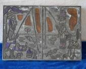 Funny Fishermen Cartoon/Vintage 1950s/Wood and Metal Printing Block/Gentleman or Bum...