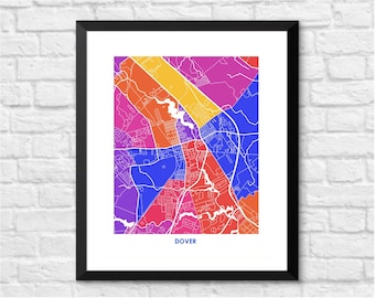 Dover Delaware.  Color Options and Size Options Available.  Map of Dover.