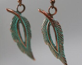 Leaf Dangle Earrings, Boho Earrings, Leaf earrings, Patina Copper Jewelry