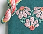 DIY Crewel Embroidery Kit Gift Pouch zinnia flower heart on blue teal
