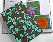 Garden Journal The Essentials with Aqua Blossoms on Coffee Brown -Available to Ship NOW