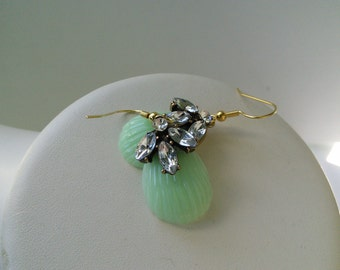Mint Green Teardrop Lucite Vintage Style Rhinestone Gold Bridal Earring Great Bridesmaid Gifts