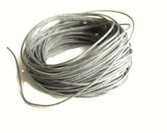 Waxed cotton cord 1mm - Grey 10 meters / 32.8 ft  (C17)
