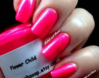 Neon Pink Nail Polish - Fluorescent - FLOWER CHILD - UV Reactive Nail Polish/Lacquer - Regular Full Sized Bottle (15 ml size)