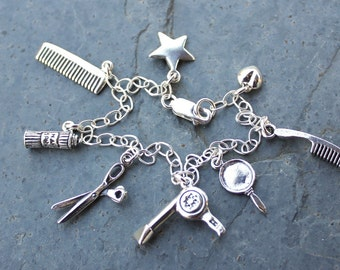 Deluxe Hair Stylist Charm Bracelet -Sterling silver chain and charms - comb, hair dryer, hair spray, scissors, mirror - Free shipping USA