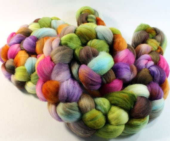 Merino Wool Roving - Hand Painted - Hand Dyed for Spinning or Felting - 4oz - Gigi