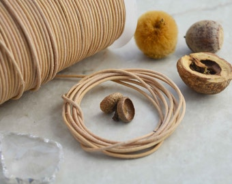 Natural Tan: 2mm Leather Cord, Genuine Round Leather,  Indian Leather, Supple Leather, 2mm Round Leather Cord / Choose your length