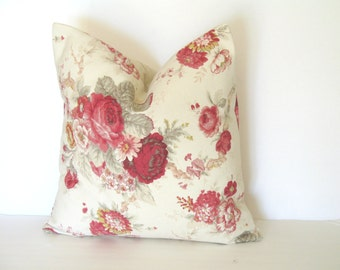 Waverly Norfolk Rose 18x18 Pillow Cover, 20x20 Farmhouse Pillow, Roses Shabby Cottage Decor
