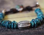 Rustic Leather Bracelet, Sundance Style Jewelry, Chrysocolla Bracelet