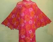 S M Vintage Toni Todd Dress Sheer Chiffon Floral Bat Wing Mod illusion