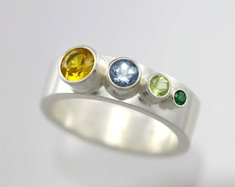4 Stone Sequence Mother Ring (Made to Order)