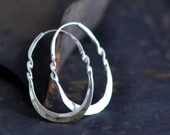 twisted oval sterling silver hoop, horseshoe hoop, stirrup hoop, endless self locking hoop, medium size, eco friendly jewelry