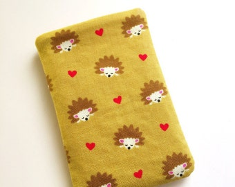 Pill Case Birth Control Cozy - Napping Hedgehogs (mustard)