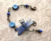 Beaded bracelet with hand painted dragonfly and Czech glass beads