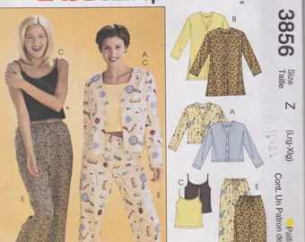 McCall's 3856 Misses' Tops, Camisole, Shorts  and Pants, Pajamas Sizes 16, 18, 20, 22 UNCUT Pattern Plus Size