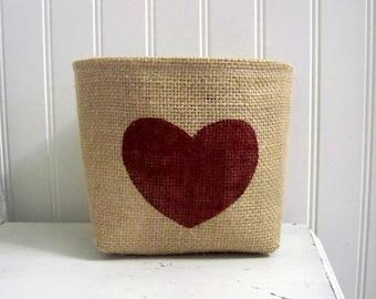 heart valentines day basket / burlap basket / red heart / valentine's day / vday / decoration / storage / organization / gif