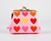 Frame purse - Remix hearts on pink - Big Aunty / Valentine Love / Pink red yellow coral orange / Modern funky warm hearts / Geometric
