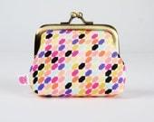 Frame coin purse - Tessellate in raspberries - Deep mum / geometric modern colorful / purple red peach orange mustard black mint / neon pink