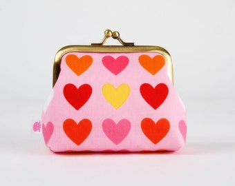 Frame purse - Remix hearts on pink - Big Aunty / Valentine Love / Pink red yellow coral orange / Modern funky warm hearts / Geometric