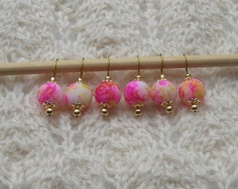 watercolor knitting stitch markers - snag free - yellow pink glass beads 12mm - set of 6 - two loop sizes available