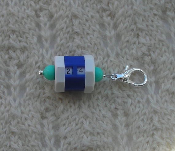 Crochet Knitting Row Counter Stitch Marker - blue with aqua beads ...