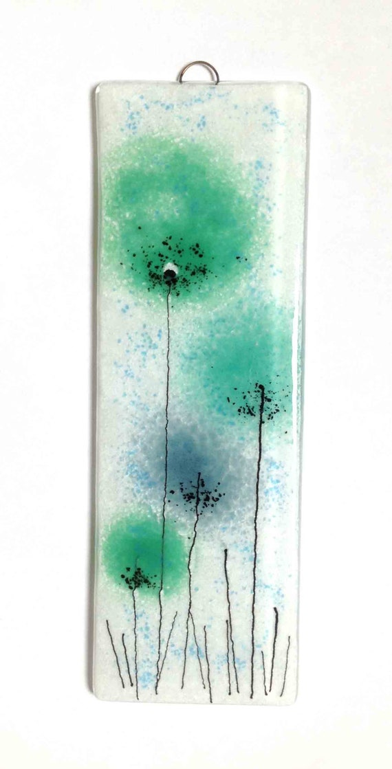 Wall Art Fused Glass : Green flowers fused glass wall art panel