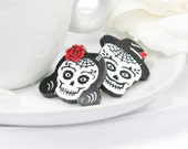 Calavera Couple Sugar Skull Large Laser Cut Acrylic Post Earring