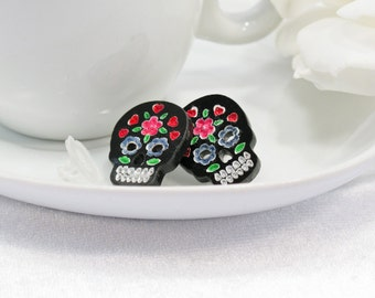 Multicolor Pink and Blue Hand-Painted Black Sugar Skull Post Earring